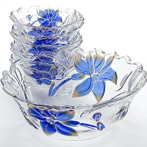 Набор стеклянных ваз «Голубые цветы»