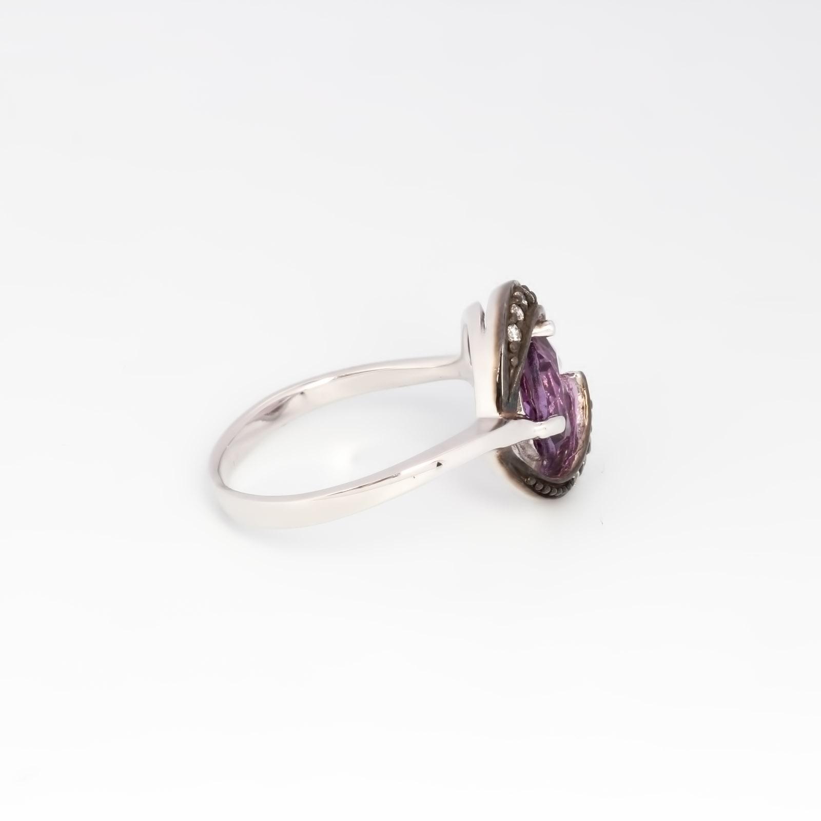 Серебряное кольцо «Анютины глазки»