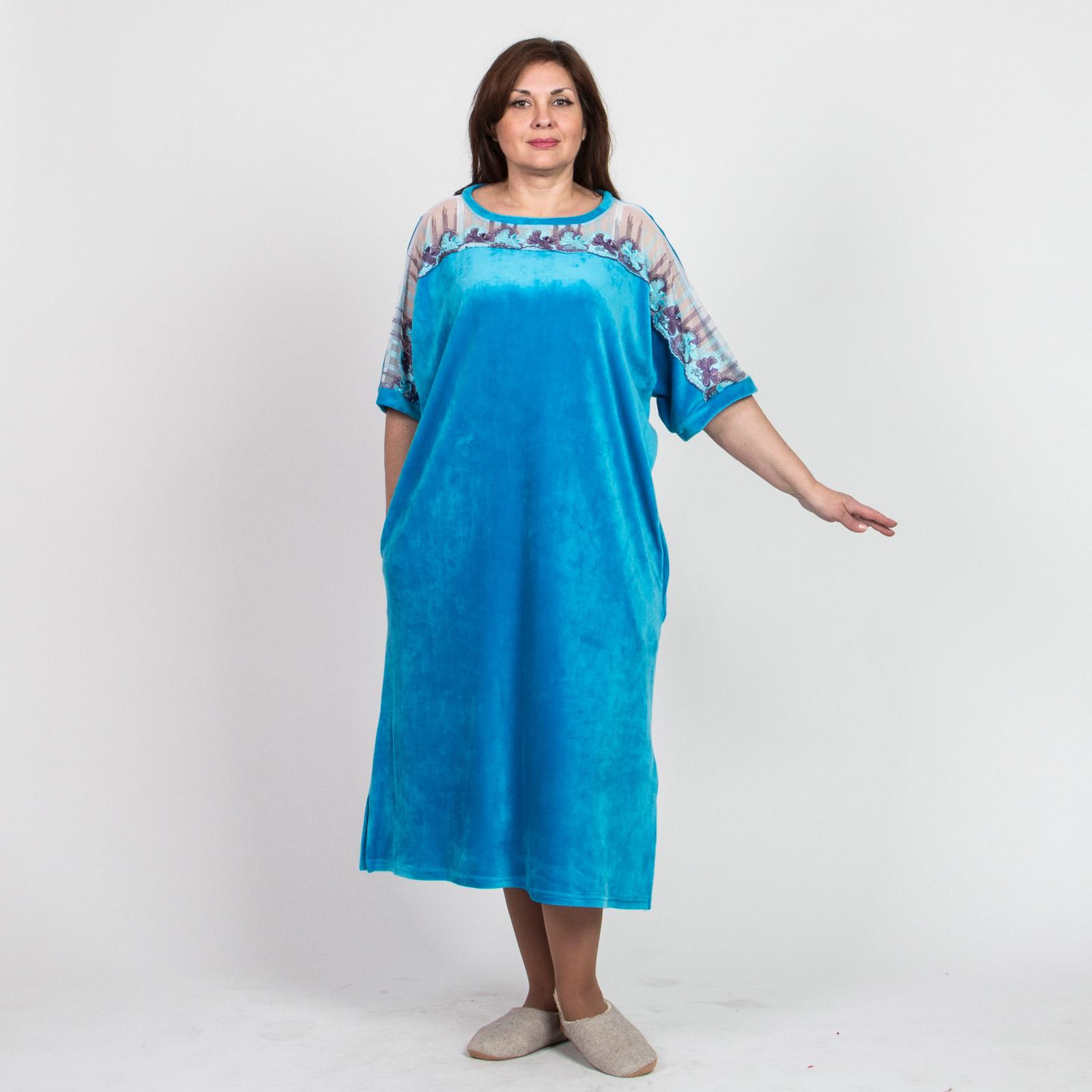 Платье велюровое с шикарной кружевной вставкой