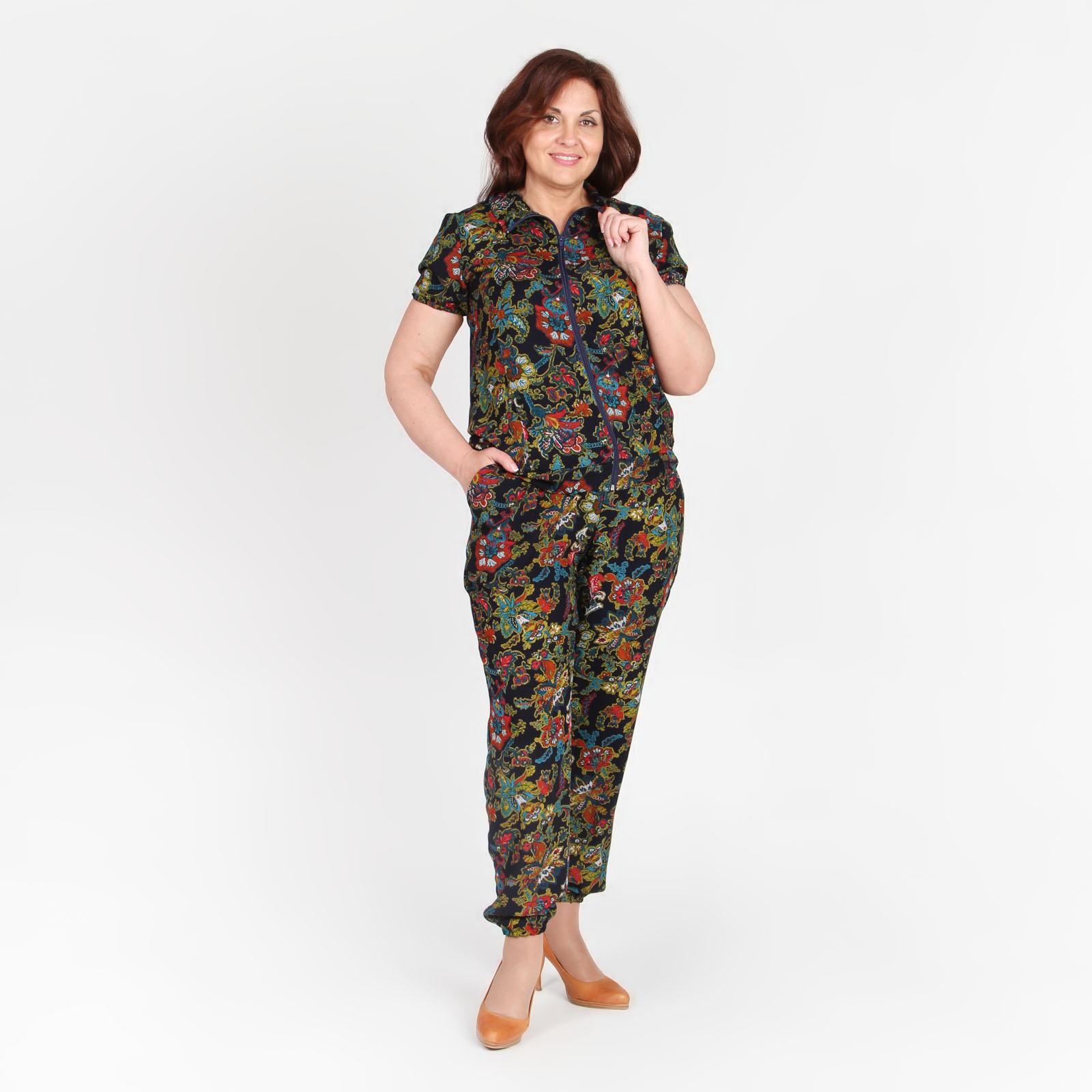 Костюм: брюки-алладины с карманами и блуза на молнии