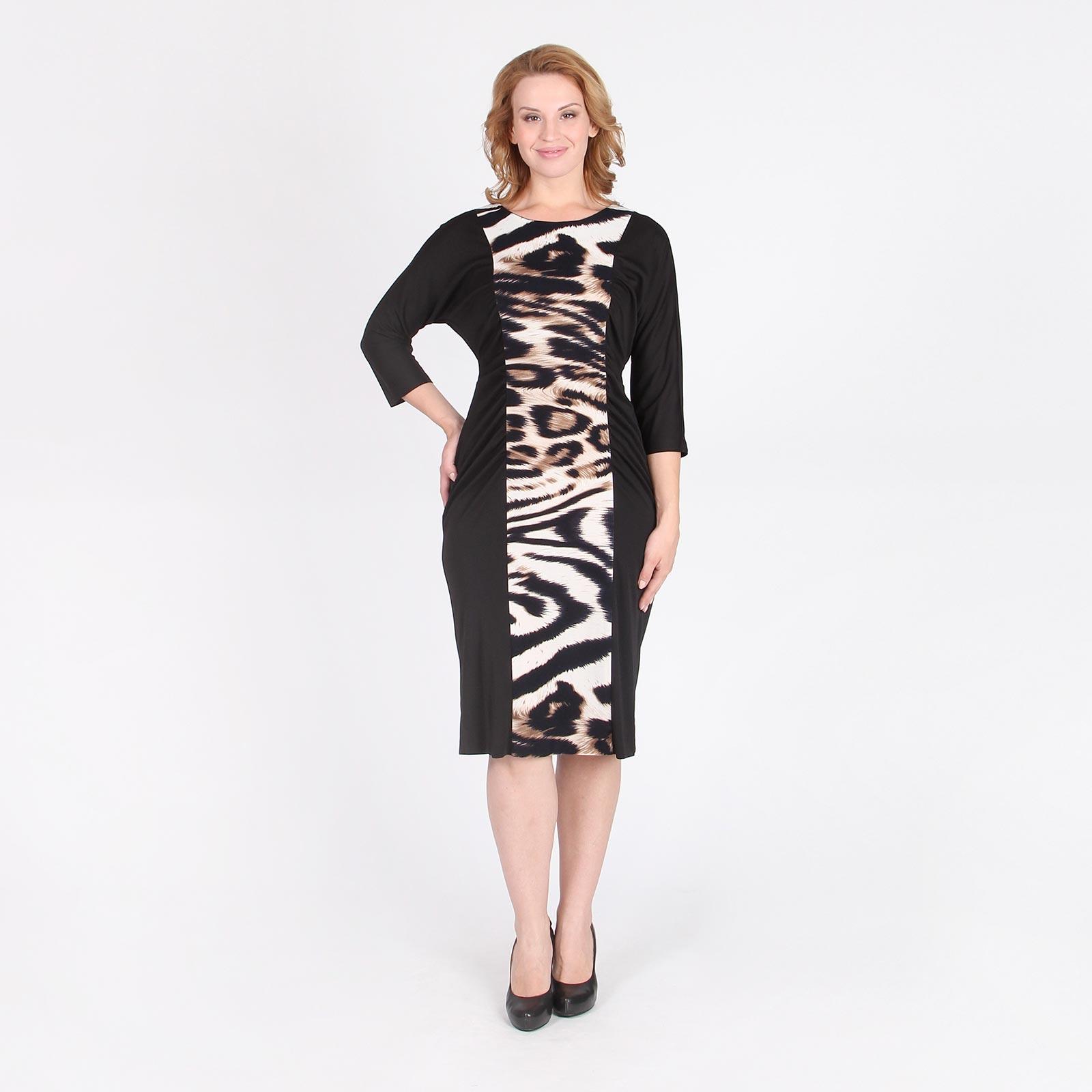 Платье с рукавом 3/4 и контрастной вертикальной вставкой