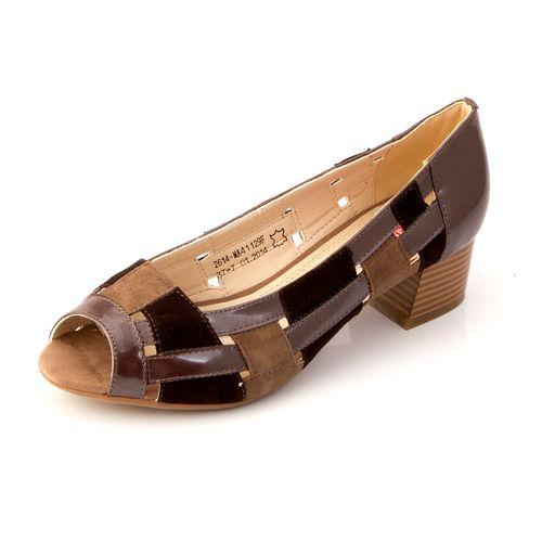 Туфли с перфорацией на каблуке с открытым носом