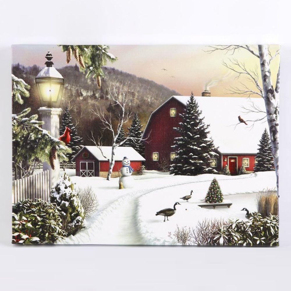 Светодиодная картина «Снежная деревня»