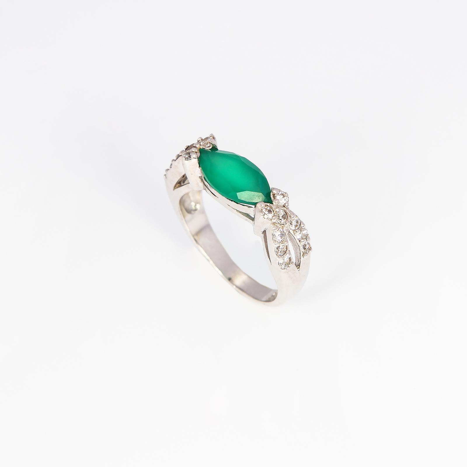 Серебряное кольцо «Зеленый бант»
