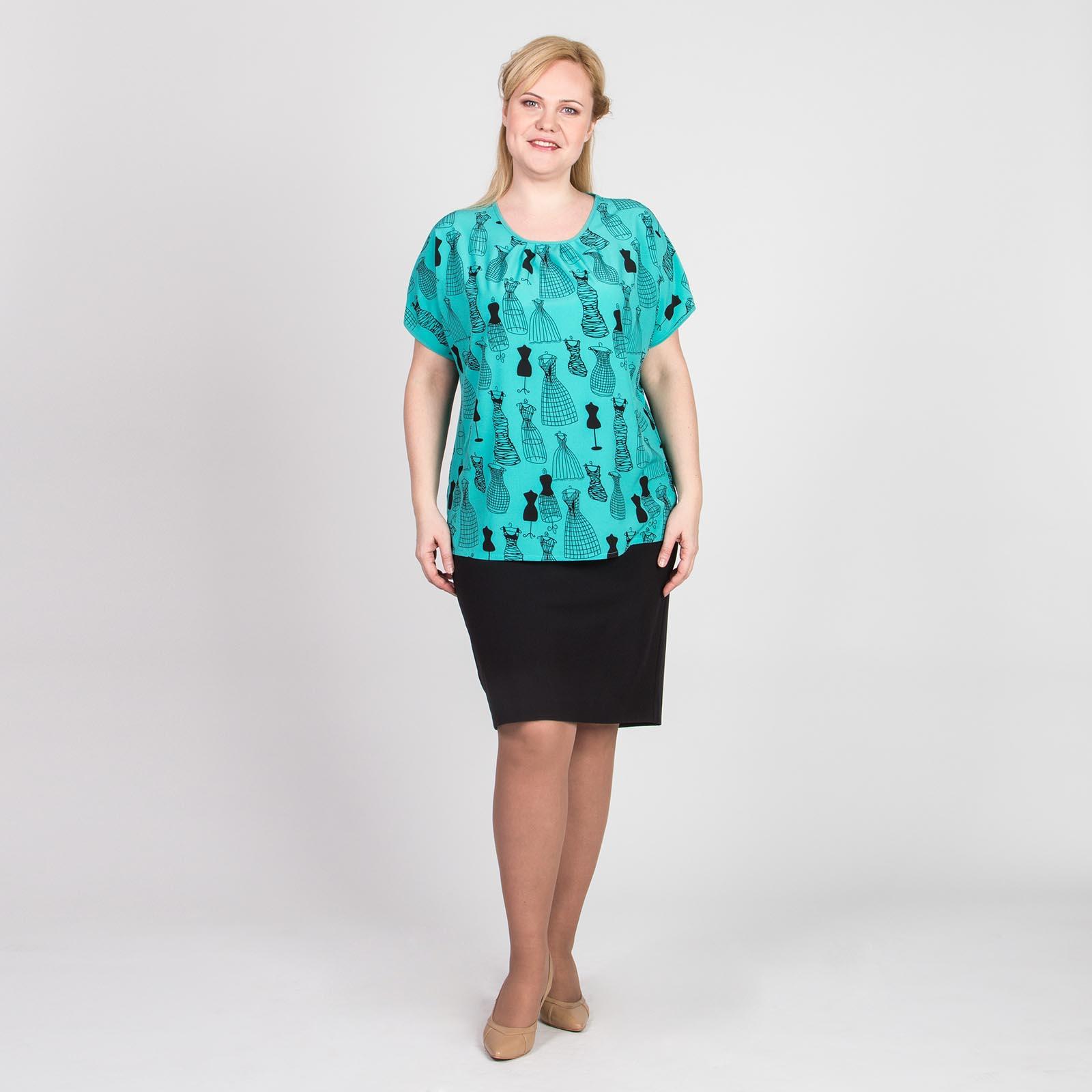 Блуза с округлым вырезом и оригинальным принтом