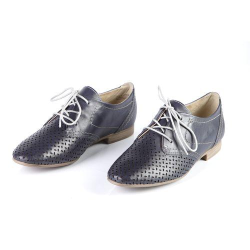 Женские ботинки из натуральной кожи на шнуровке, украшенные перфорацией