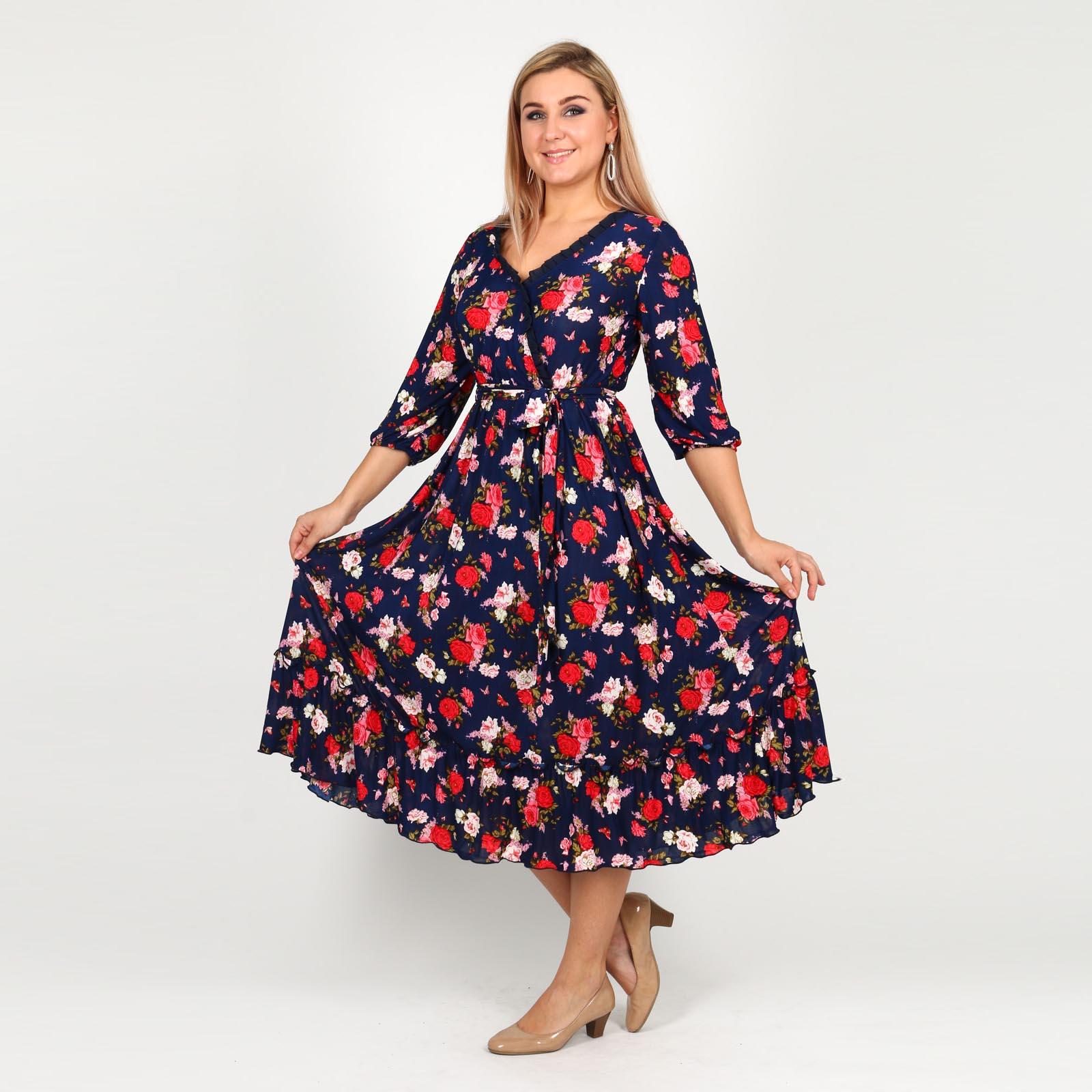 Платье на резинке с цветочным принтом