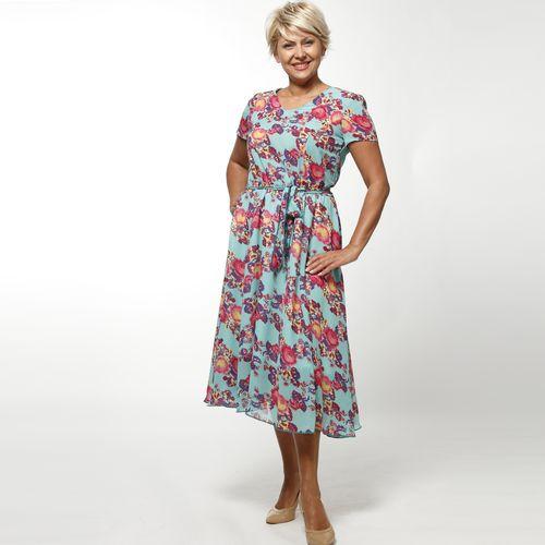 Платье с поясом и ярким принтом