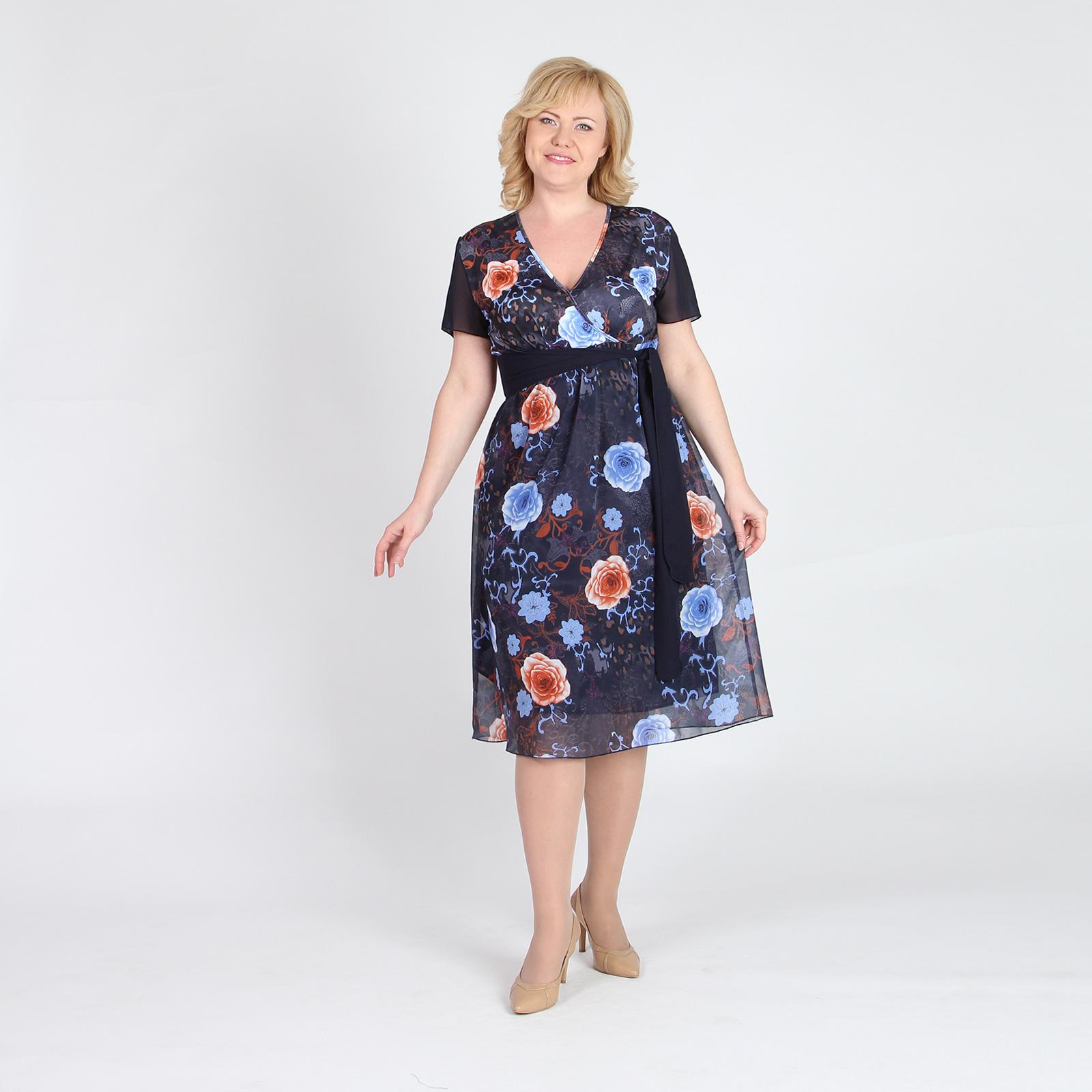 Платье расклешенного кроя с принтом «Розы»