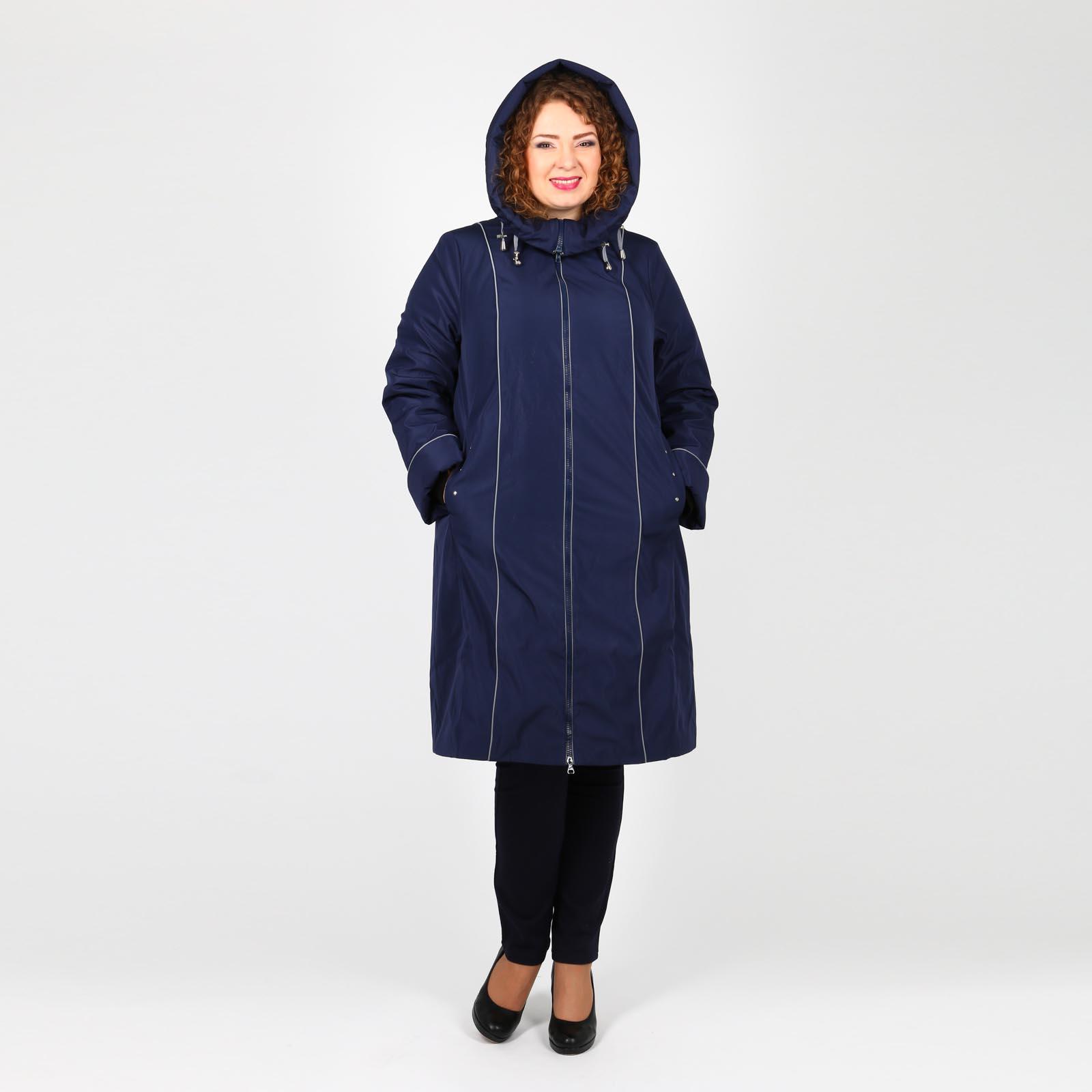 Пальто на молнии с капюшоном и карманами