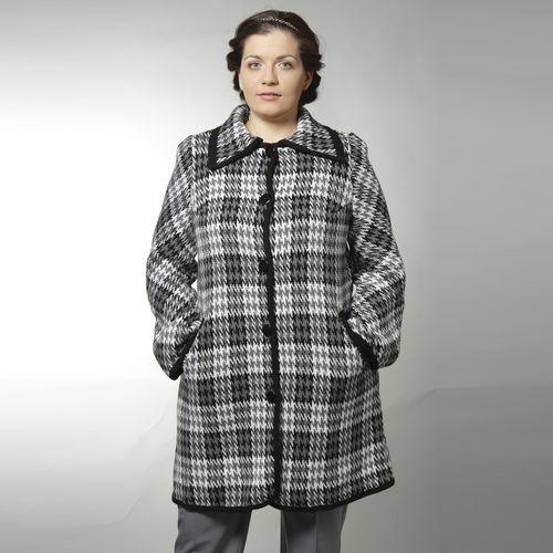 Пальто трикотажное на пуговицах с принтом «гусиная лапка»