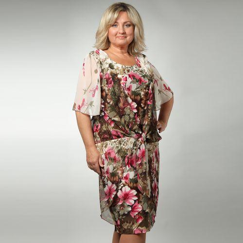 Платье с имитацией шифоновой накидки и принтом «Цветочное настроение»