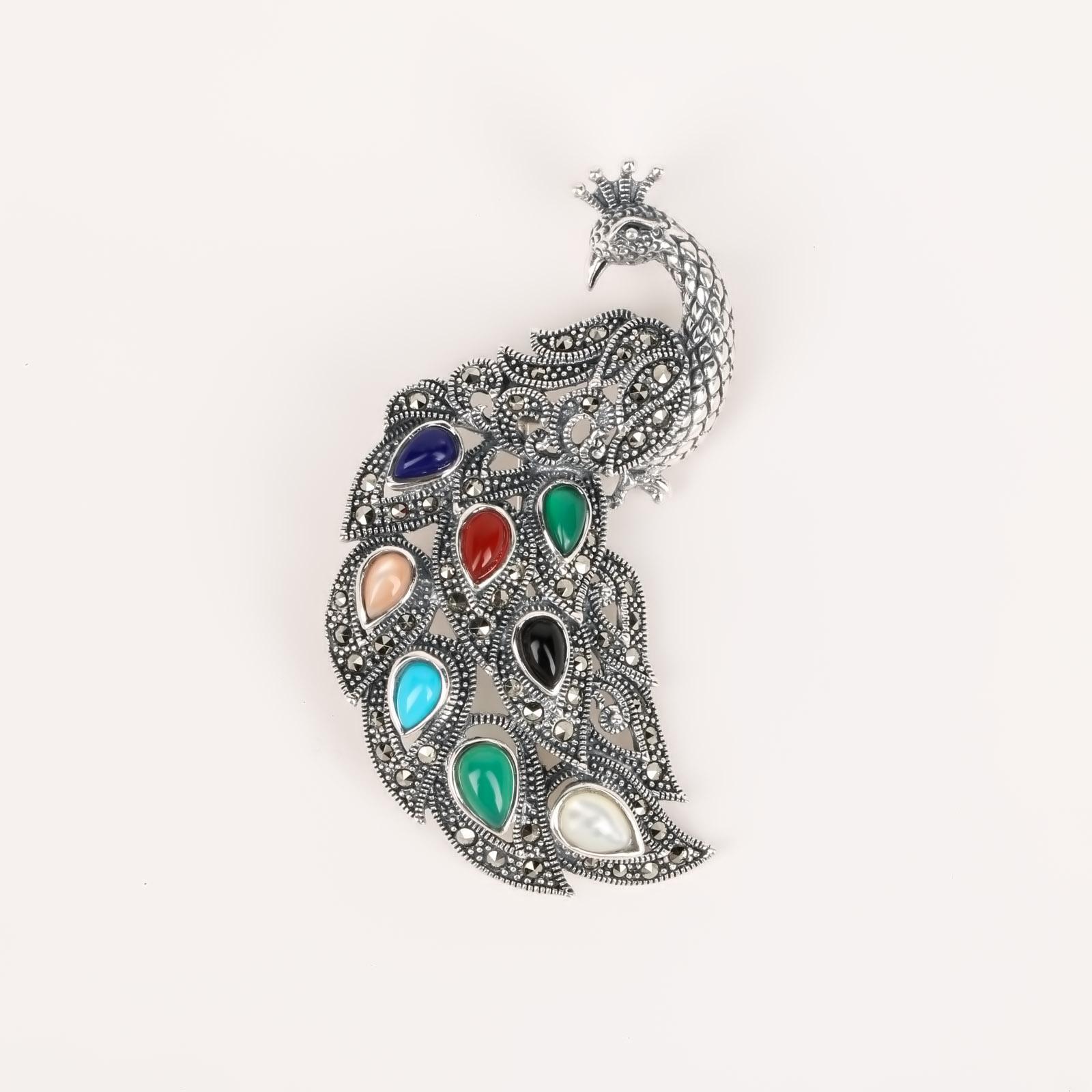Серебряная брошь «Павлин»