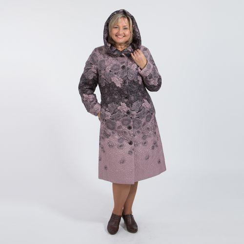 Пальто прилегающего силуэта из плащевой стеганой ткани с текстурным цветочным принтом