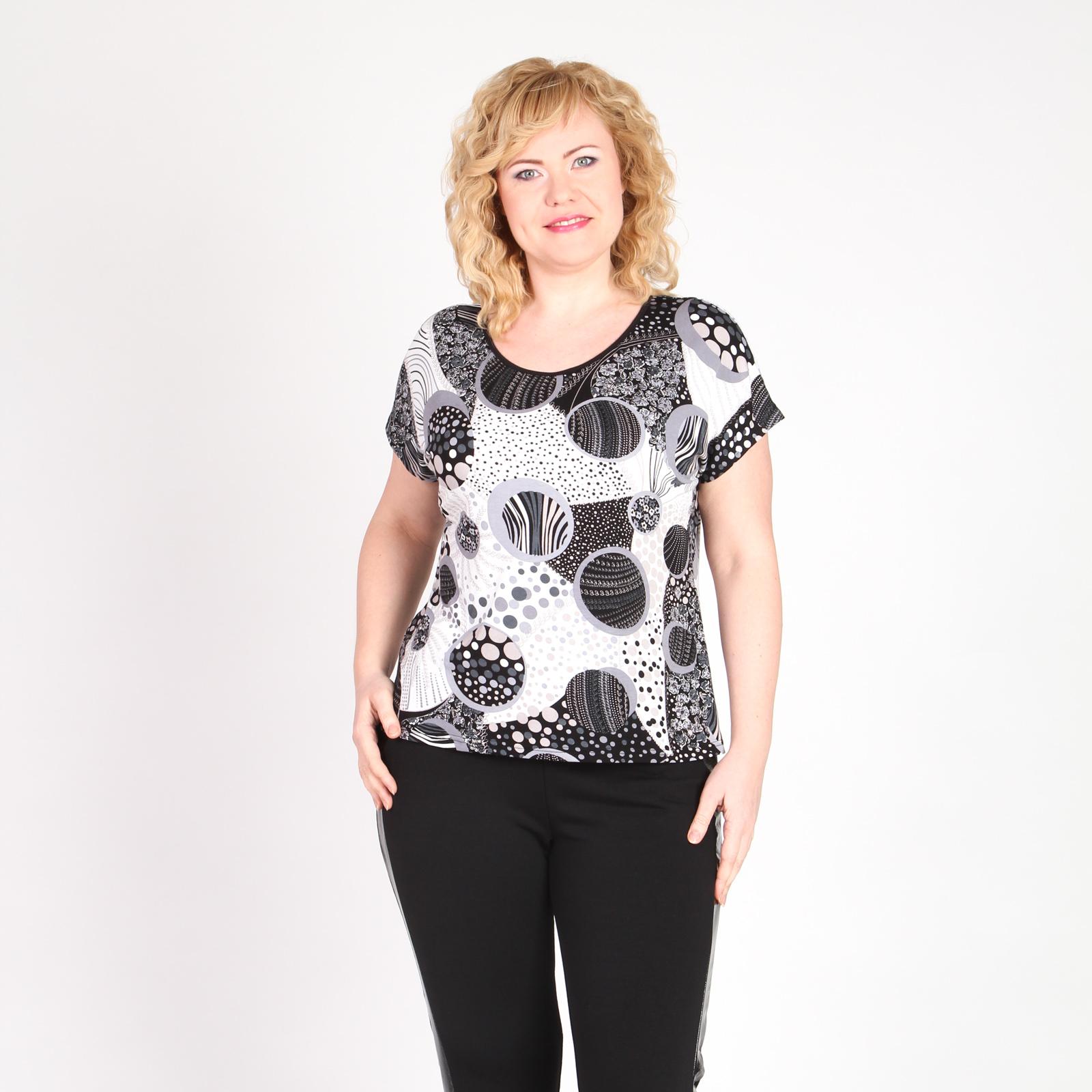 Блуза с округлым вырезом и геометрическим принтом