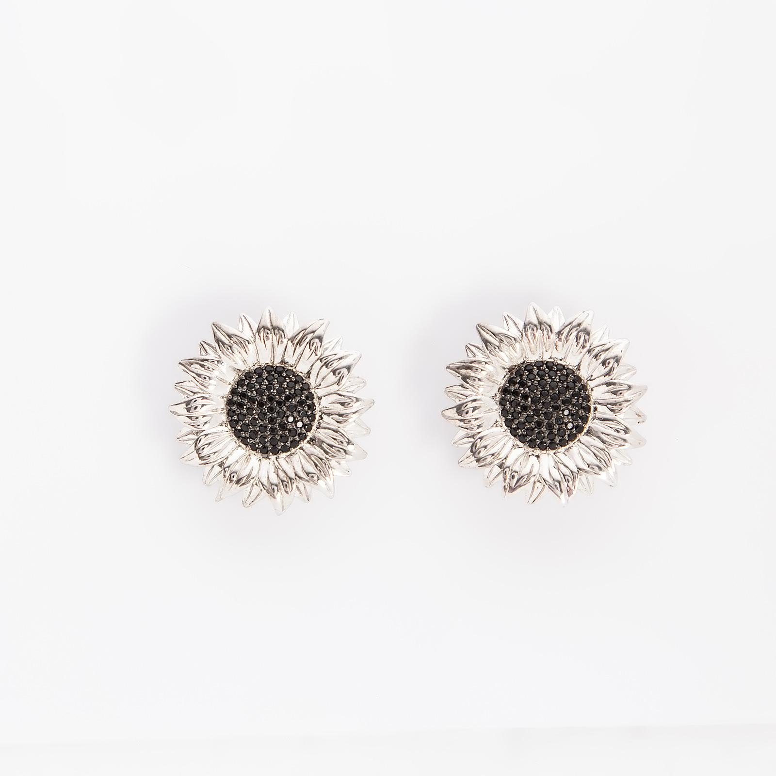 Серебряные серьги «Солнечный цветок»