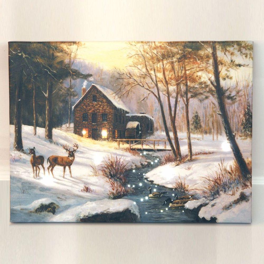 Светодиодная картина «Домик у речки»