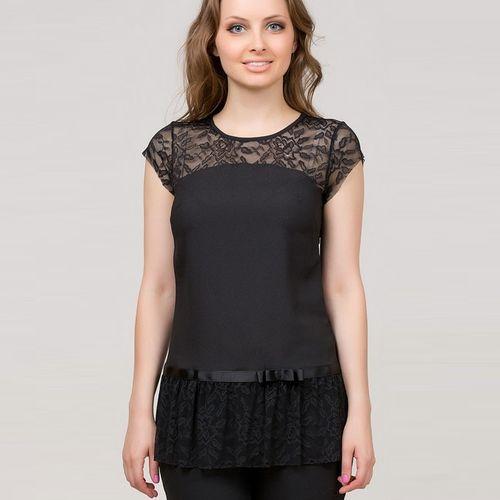 Блуза с кружевной баской