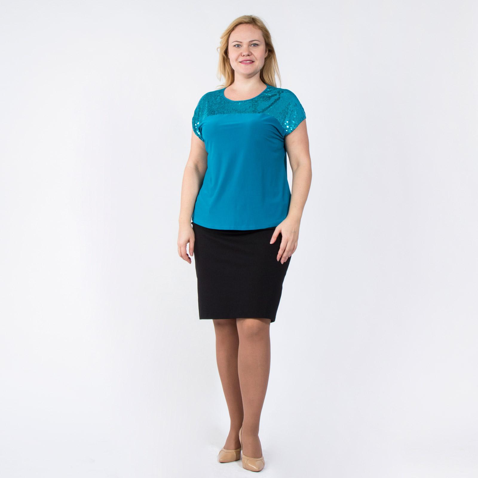 Блуза свободного кроя украшенная паетками