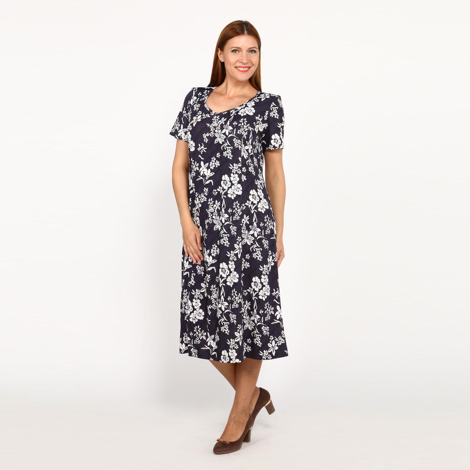Платье с цветами и коротким рукавом