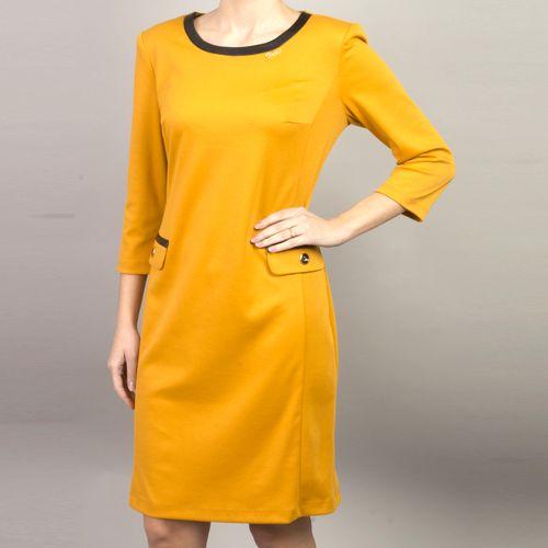 Платье из джерси с отделкой из экокожи