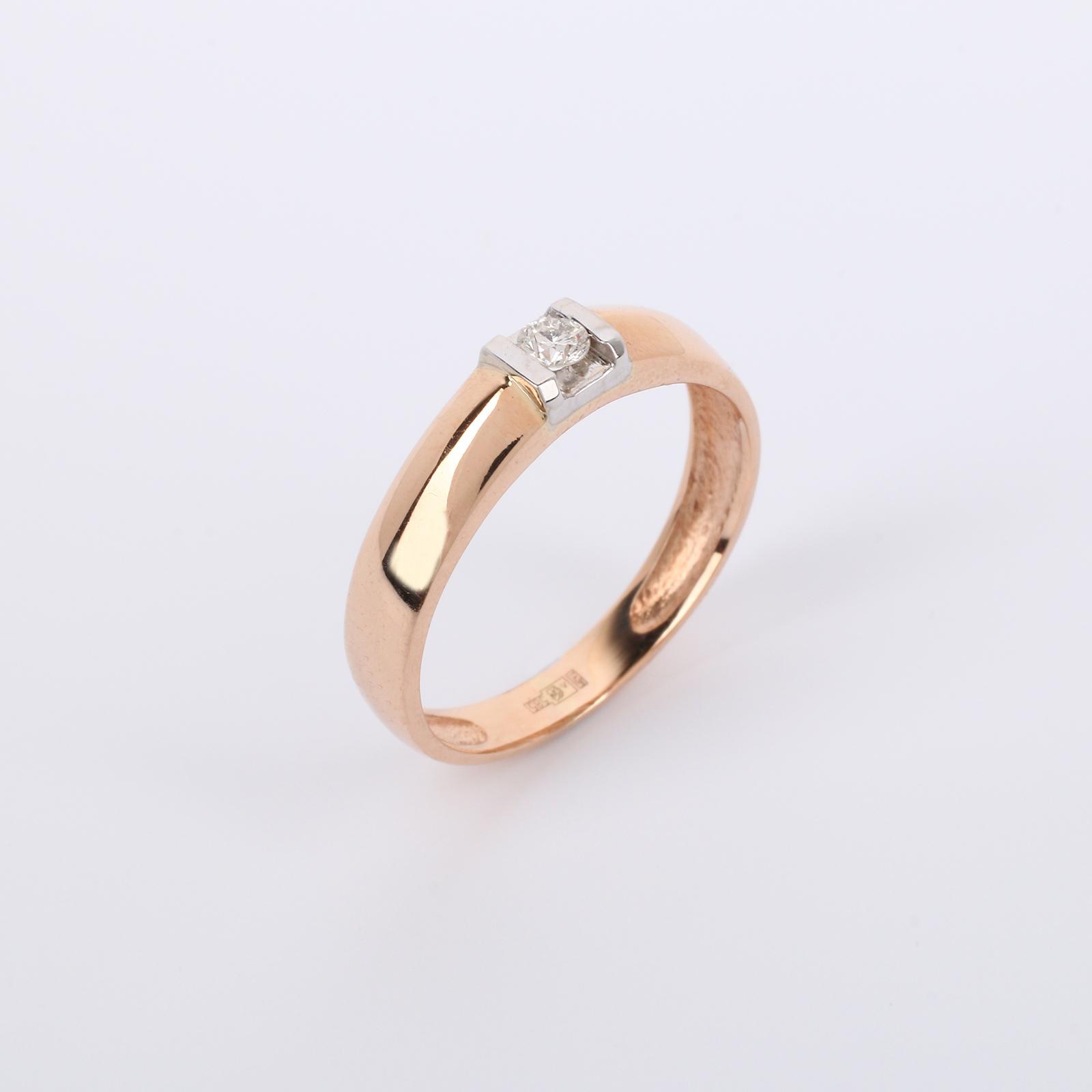 """Золотое кольцо с бриллиантом """"Европейский шик"""""""